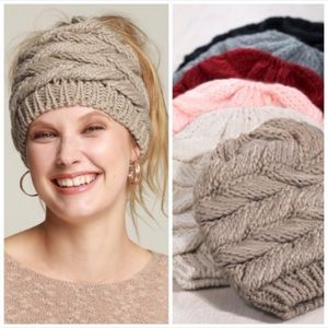 COLOR OPTIONS | Knit messy bun ponytail beanie